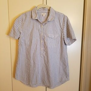 J. Crew Factory Cotton Short Sleeve Popover, Large